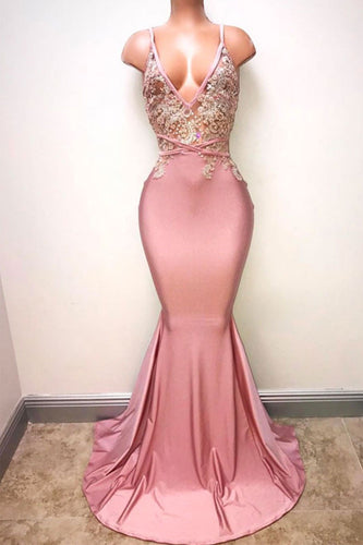 Pink V Neck Lace Beads Mermaid Long Prom Dress JKP307