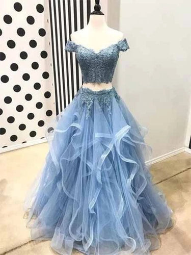 A-Line Off-the-Shoulder Sky Blue Tulle Appliques Long Prom Dress JKQ115|Annapromdress