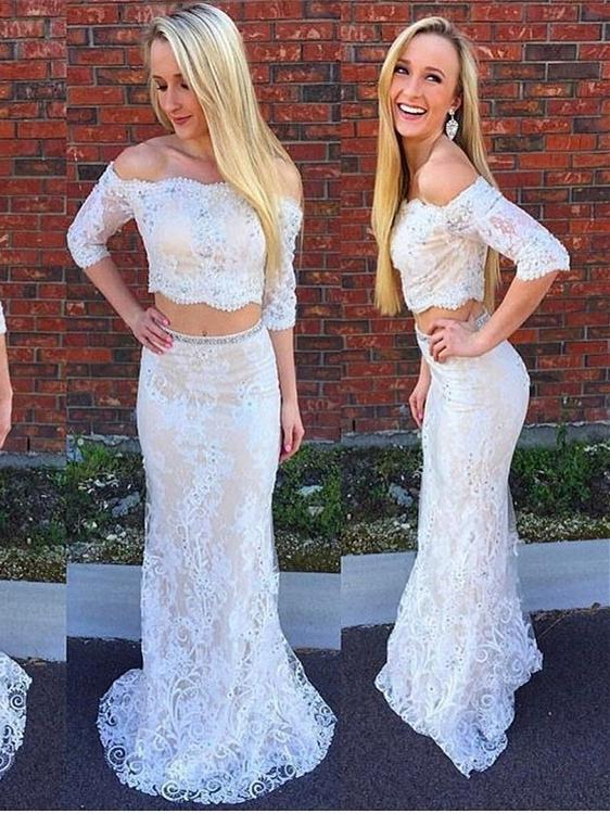 691056252d9a Two Piece Prom Dresses Mermaid Trumpet Off-the-shoulder Short Train White  Lace Prom