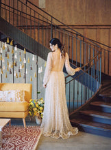 Sparkly Long Sleeve V-neck Wedding Dress Backless A Line Stunning Wedding Dress Bridal Gown YSQ1465