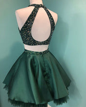 Halter Beaded Green Satin Two Piece Homecoming Dress Short Graduation Dress AN8805|Annapromdress