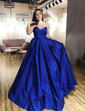 Royal Blue Tulle Strapless V-neck A-Line Sparkle Prom Dress with Pockets JKQ107