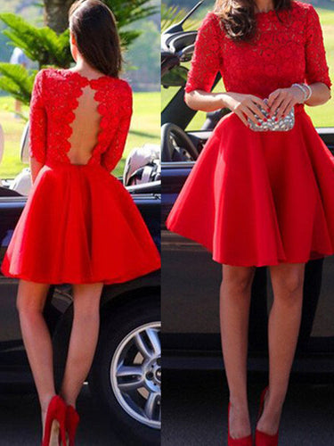 classy prom dresses,Red A-line Bateau Short Mini Chiffon Homecoming Dress Short Prom Dresses SP8309
