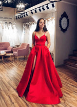 Red Satin A-line V-neck Spaghetti Straps Long Prom Dress with Slit JKQ106
