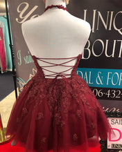 Halter Burgundy Tulle Appliques A-Line Cute Homecoming Dress AN8803|Annapromdress