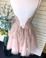 Dusty Blush Tulle Spaghetti Straps V-Neck A-Line Cute Homecoming Dress AN8804