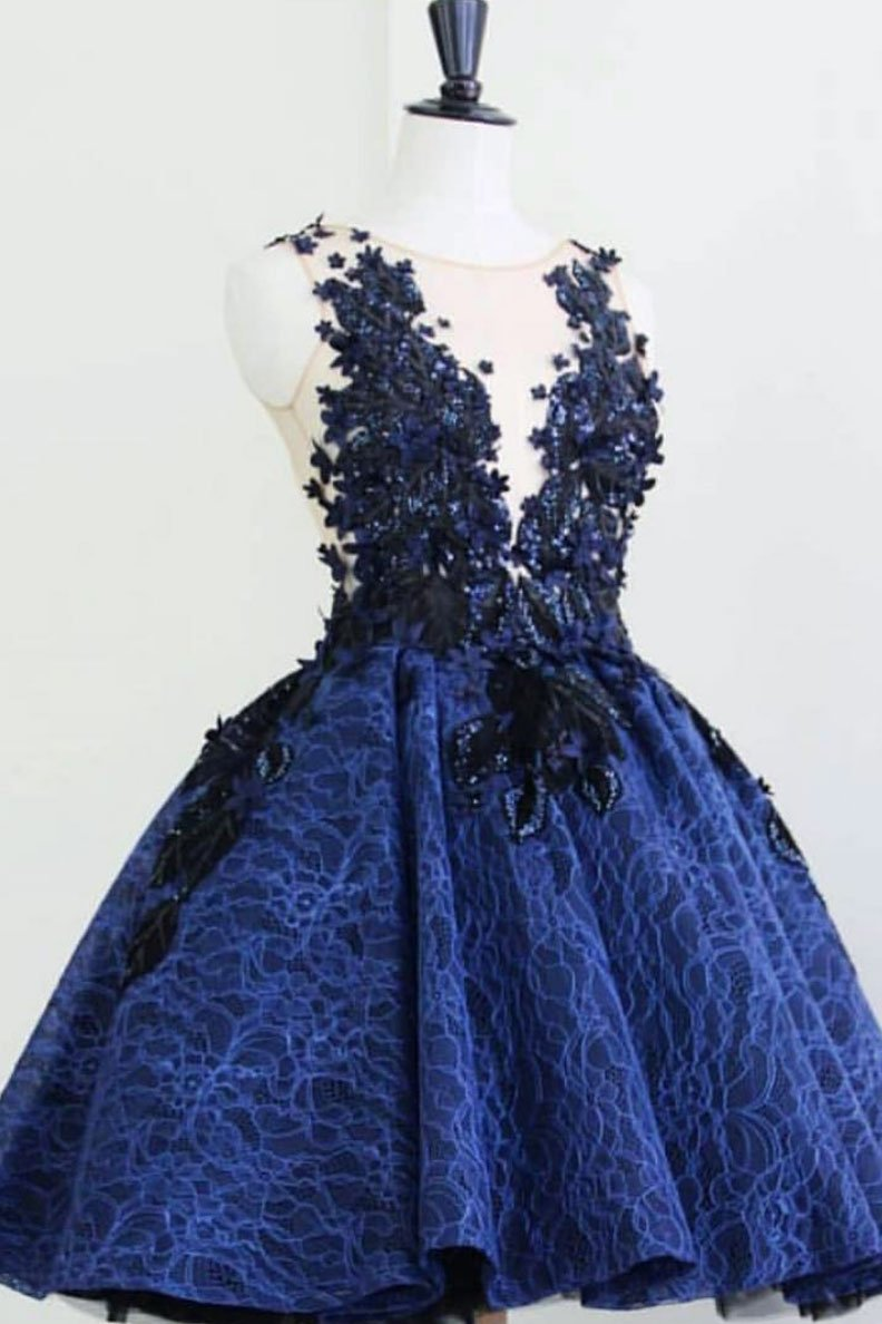 Blue round neck lace short prom dress, blue lace evening dress JKF01Annapromdress