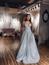 A-Line V-neck Spaghetti Straps Silver Sparkle Prom Dress with Pockets JKQ105