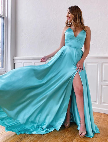 Aqua Satin V-neck Spaghetti Straps A-Line Long Prom Dress with Slit JKZ8301|Annapromdress