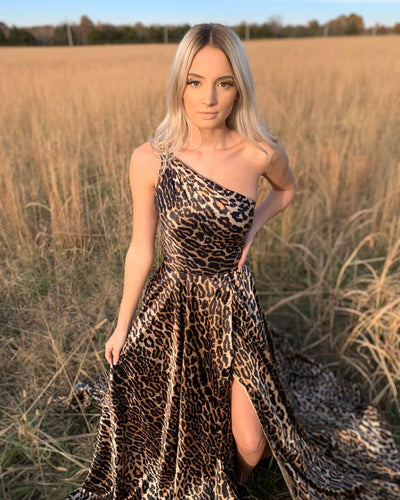 One Shoulder Leopard Print Satin Long Prom Dress with Slit JKZ8311|Annapromdress