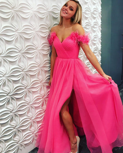 Hot Pink Tulle Pleat Off-the-Shoulder A-Line Long Prom Dress JKZ8314|Annapromdress