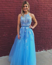 Exquisite Blue Lace A-Line Long Prom Dress Formal Evening Gowns JKS8426