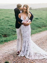 Exquisite Lace Mermaid Wedding Dress 2019 Sexy Deep V-Neck Rustic Wedding Dress Bridal Gown PIN7191|Annapromdress