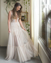 A-Line Embroidery Appliques V-neck Bohemain Wedding Dress JKZ6304|Annapromdress