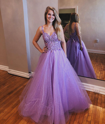 Chic Lavender Tulle Appliques Beaded A-Line Long Prom Dress JKS8427