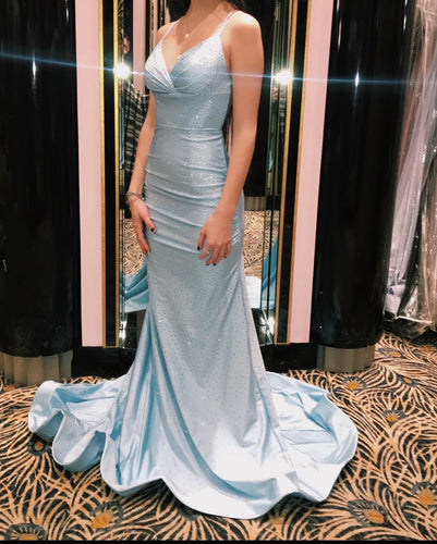 Criss Cross Straps Sky Blue Satin Beading Mermaid Prom Dress JKZ8309|Annapromdress