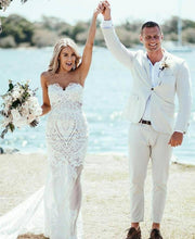 Sweetheart Sheath/Column Lace Appliques Beach Wedding Dress JKZ6307|Annapromdress