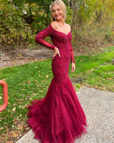 Mermaid Tulle Appliques Off-the-Shoulder Long Sleeve Burgundy Prom Dress JKZ8312|Annapromdress
