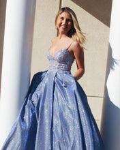 Blue Tulle Appliques A-Line Long Sparkle Prom Dress with Pockets JKS8623