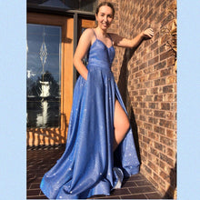 Spaghetti Straps Sweetheart Blue Tulle A-Line Long Sparkle Prom Dress JKS8423|Annapromdress