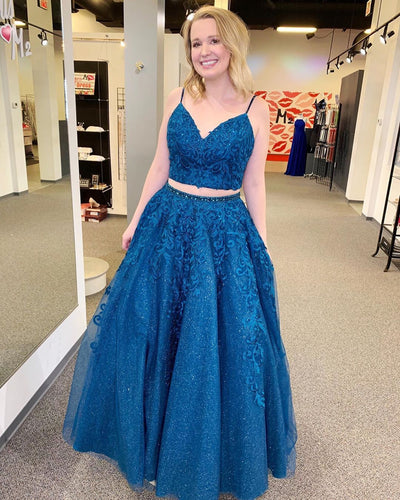 Royal Blue Sparkle Tulle Appliques Two Piece Prom Dress JKZ942|Annapromdress