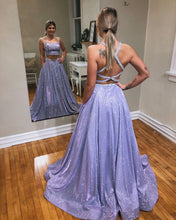 Lavender Tulle A-Line Sparkle Two Piece Prom Dress JKS8624|Annapromdress