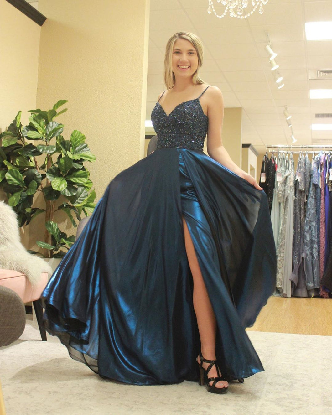 A-Line Navy Blue Satin Beaded Spaghetti Straps Long Prom Dress JKZ9403|Annapromdress