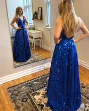 Royal Blue Sequins Sexy Deep V-neck A-Line Long Prom Dress JKS8625|Annapromdress