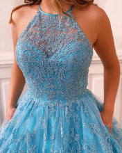 Chic Jewel Neckline Exquisite Lace Long Prom Dress with Pockets JKQ320