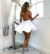 White Stain Halter Simple Homecoming Dresses Backless Graduation Dress AN2209|Annapromdress