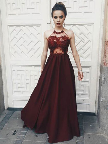 Chic Prom Dresses Halter Floor-length Long Burgundy Prom Dress Sexy Evening Dress JKL730