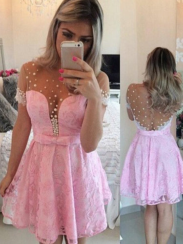 Pink A-line Scoop Short Mini Tulle Homecoming Dress Short Prom Dresses SP8158