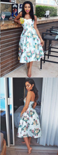 Cute Homecoming Dresses Floral Print Sweetheart Short Prom Dress Party Dress JK849|Annapromdress