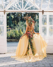 Chic Yellow Wedding Dresses Two Pieces A-line Long Country Wedding Dress With Lace NA4007