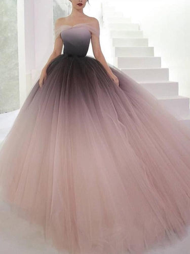Off-the-shoulder Ombre Prom Dresses Unique Prom Dress Long Evening Dresses NA4012