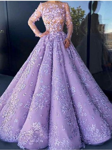 Ball Gown Lilac Tulle Long Sleeve Prom Dress JKW374