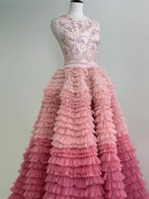 Chic Ball Gown Scoop Pink Beading Prom Dresses Tulle Ombre Long Prom Dress Evening Dress JKG030