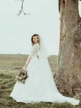 Half Sleeve Lace Boho Wedding Dress Bateau Backless Rustic Bridal Gowns NAY011|Annapromdress