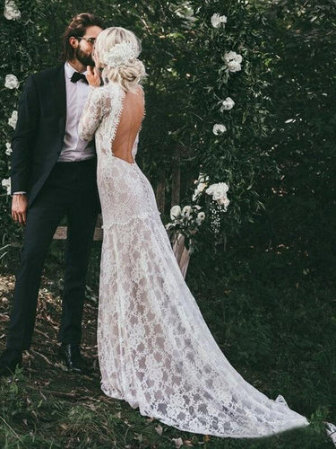 See Through Long Sleeve Rustic Lace Wedding Dresses Vintage Sheath Wedding Dress NAY012|Annapromdress