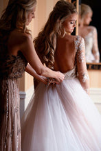 Open Back Romantic Wedding Dresses Bateau Neckline Long Sleeve Asymmetrical Bridal Gowns NAY013|Annapromdress