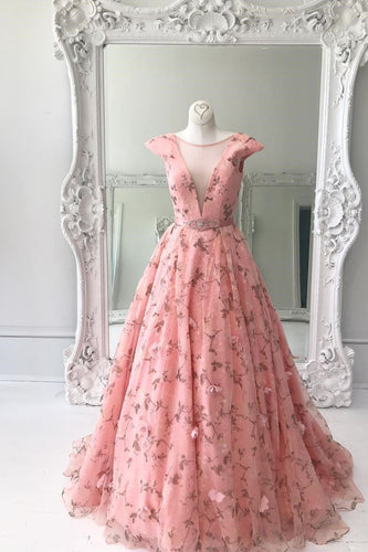 Pink 3d Floral Lace Long Prom Dresses Formal Dress Evening Gowns JKG028