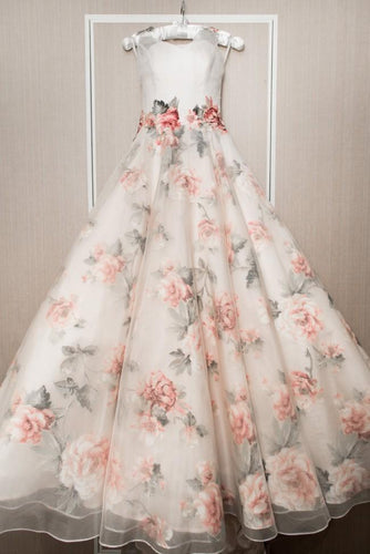 Chic A-line White Print Floral Prom Dresses Quinceanera Formal Dresses Wedding Gowns NAY015|Annapromdress