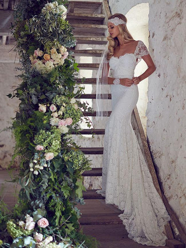 Sheath/Column Beach Lace Wedding Dresses Rustic Wedding Dresses NAY014|Annapromdress