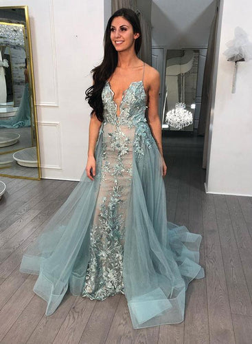Trumpet/Mermaid Spaghetti Straps Long Prom Dress Open Back Elegant Formal Dress JKP401|Annapromdress