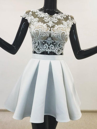 Two Pieces A-line Short Prom Dresses Light Sky Blue Lace Homecoming Dress JKG20|Annapromdress