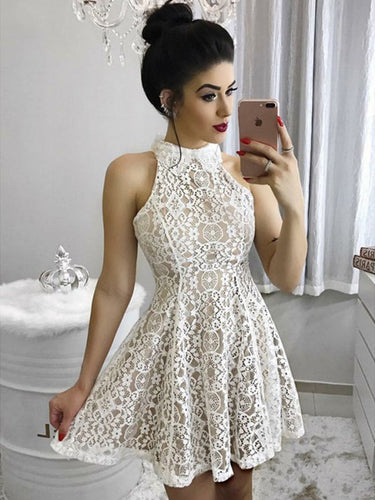 High Neck Lace sleeveless Mini Homecoming Dress Short Graduation Dress AN12303}Annapromdress