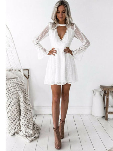 Sexy Deep V-Neck Long Sleeve A-Line Short Homecoming Dress AN12305|Annapromdress