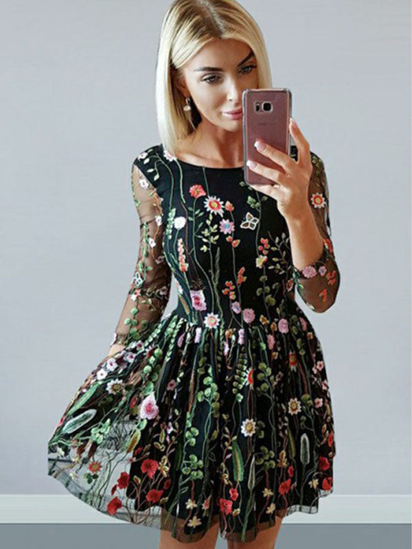 Illusion Long Sleeve Embroidery Floral Bateau A-Line Cute Homecoming Dress AN12306|Annapromdress