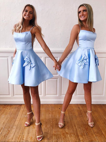 Light Blue Spaghetti Straps Bow A-Line Cute Homecoming Dresses 2019 AN2202|Annapromdress