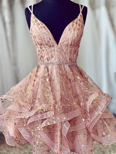 Dusty Pink Sexy Deep V-Neck Spaghetti Straps Beaded Sparkly Homecoming Dresses AN2203|Annapromdress